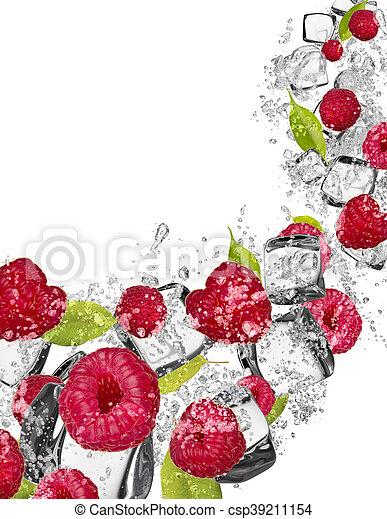 Raspberries in water splash on white background - csp39211154