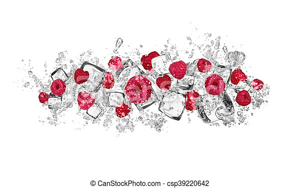 Raspberries in water splash on white background - csp39220642