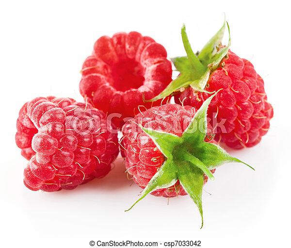 raspberry berries with green leaf - csp7033042