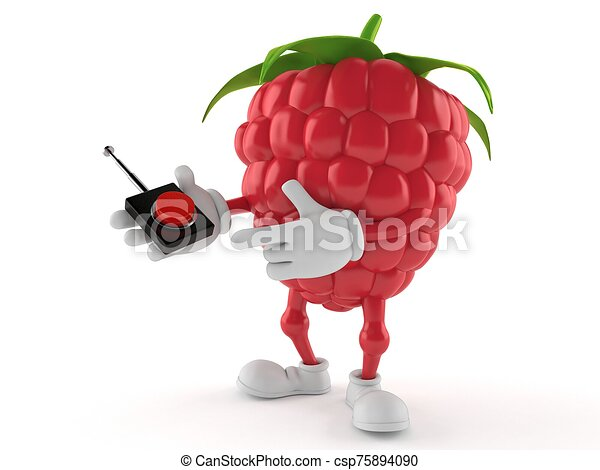 Raspberry character pushing button on white background - csp75894090