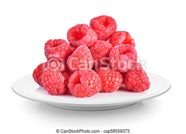 raspberry in plate on white background - csp58559373