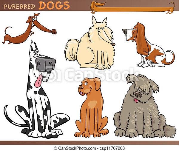 rassen, satz, karikatur, hund - csp11707208