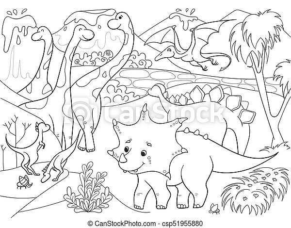 Raster, färbung, nature., abbildung, karikatur, dinosaurier, schwarz ...