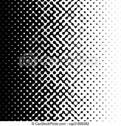 Raster Seamless Black and White Truchet Halftone Gradient Pattern - csp31899382