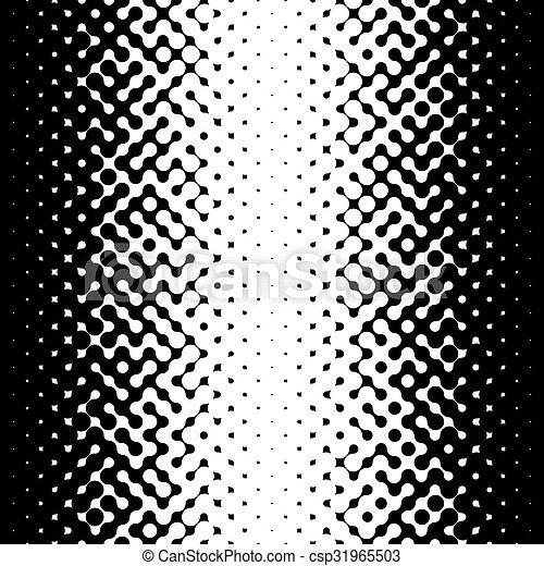 Raster Seamless Black and White Truchet Halftone Gradient Pattern - csp31965503