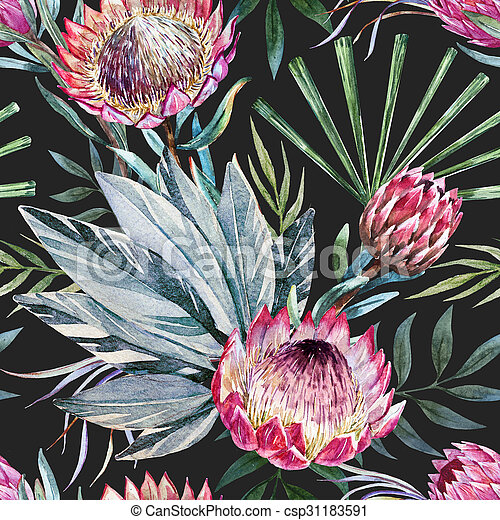 Raster tropical protea pattern - csp31183591