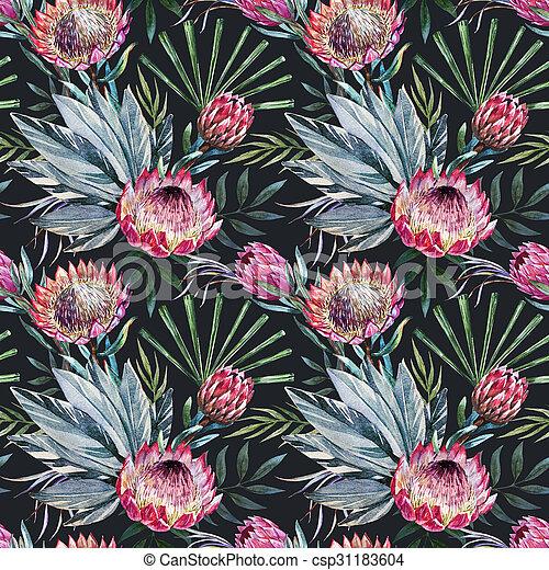 Raster tropical protea pattern - csp31183604