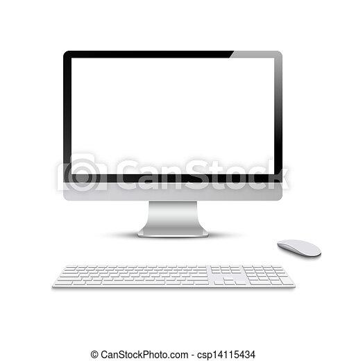 Monitor con teclado y ratón de computadora - csp14115434