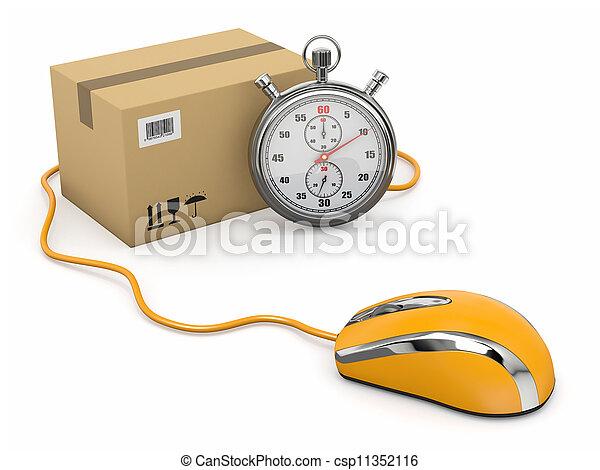 Entrega en línea. Ratón, cronómetro y paquete. - csp11352116