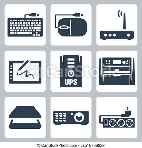 Iconos de hardware vector fijados: teclado, ratón de computadora, módem, tabla de gráficos, UPS, dispositivo de multifunción, escáner, proyector, filtro de aumento - csp16736829