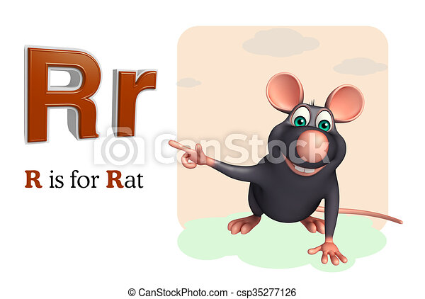 Line Drawing Rat : 3d rendered illustration of rat pet animal with alphabet clip art