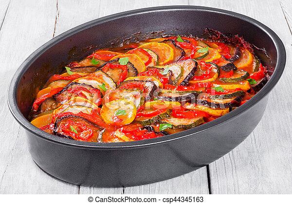 ratatouille, topo, francês, tradicional, vegetal, casserole, vista - csp44345163