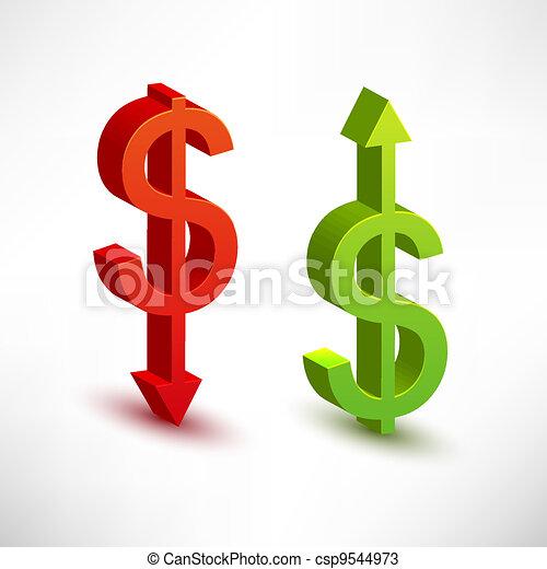 rates., concept, dollar, échange - csp9544973