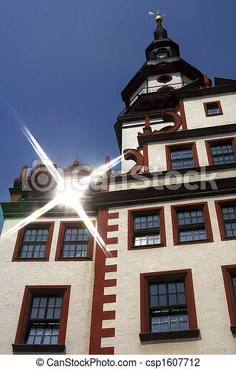 Rathaus Altes Chemnitz Sachsen Deutschland Rathaus Strahlen