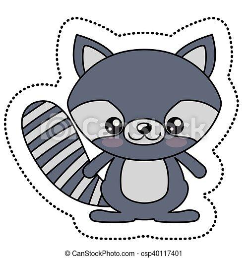 Raton laveur kawaii conception dessin anim kawaii - Coloriage raton laveur ...