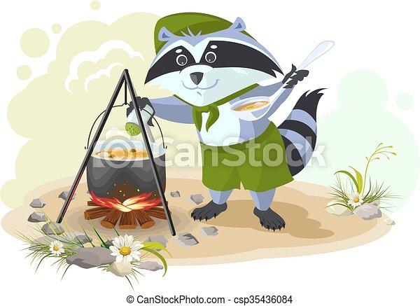 raton laveur, soupe, scout, cuisine - csp35436084