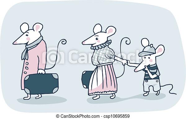 Familia De Ratones Caricatura De Una Familia De Ratones