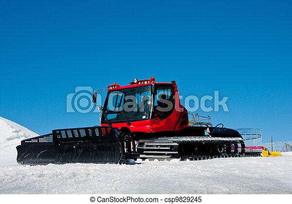 ratrack, röd, ski-route - csp9829245