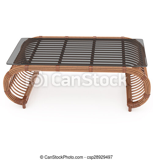Rattan Table With Glass Top 3d Graphics   Csp28929497