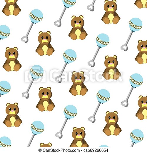 rattle and teddy bear toys background - csp69266654