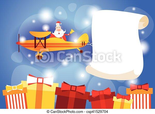 Santa-Klausel fliegendes Flugzeug mit leeren Banner kopieren Raum neue Jahr Feier - csp41529704