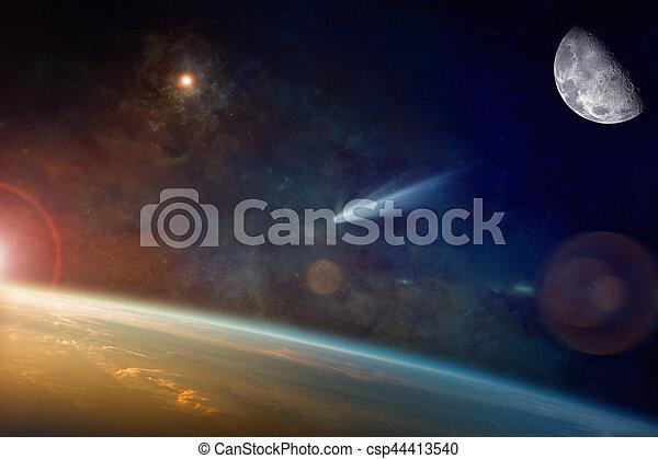 raum, planet, hell, komet, erde, nähern - csp44413540