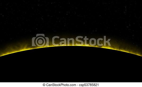 raum, sonne, prominences, gelber , schwarzer hintergrund, stilvoll - csp53785821