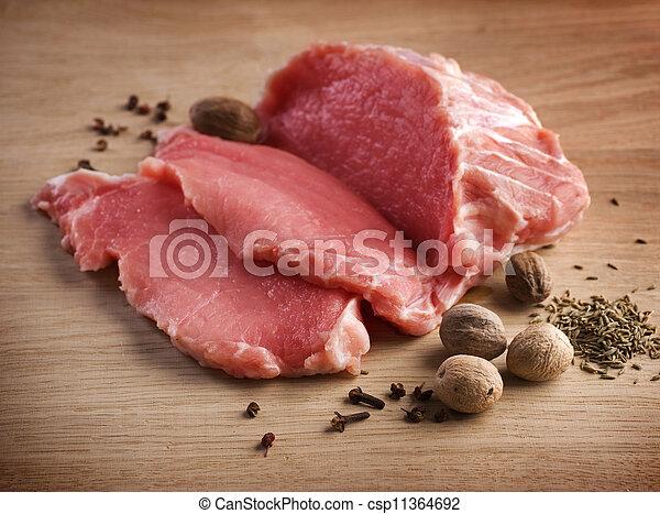 rauwe, kruiden, vlees, biefstukken - csp11364692