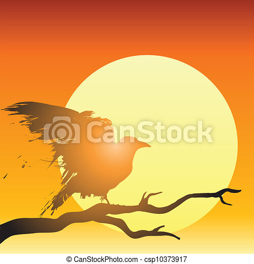 Raven in front of setting sun - csp10373917