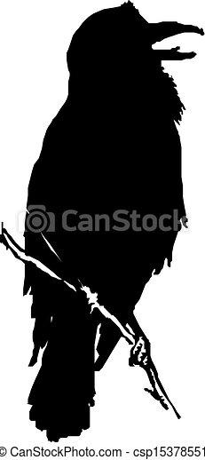 raven vector silhouette  - csp15378551