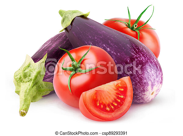 Raw aubergines and tomatoes isolated on white - csp89293391