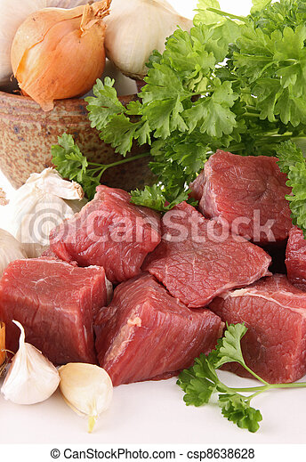 raw beef and parsley - csp8638628