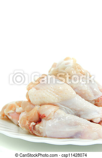 raw chicken drumstick on a white plate  - csp11428074