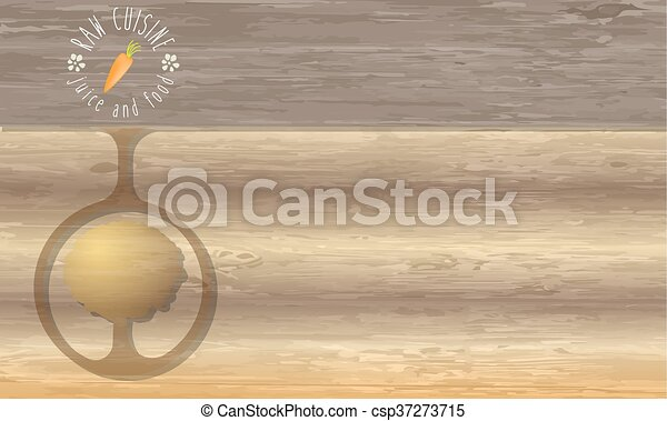 Raw cuisine icon and wooden background - csp37273715