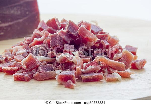 Raw diced bacon - csp30775331
