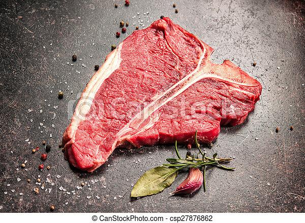 Raw fresh meat T-bone steak - csp27876862
