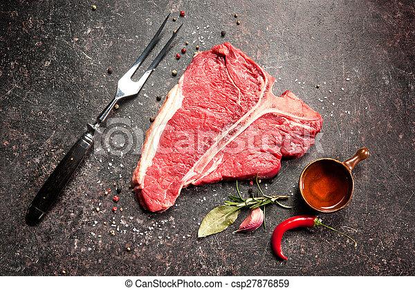Raw fresh meat T-bone steak - csp27876859