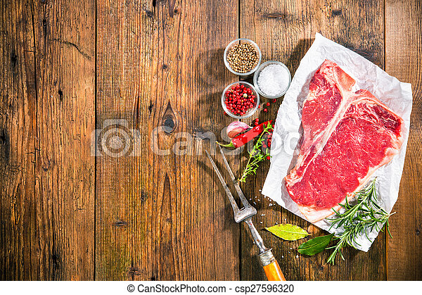 Raw fresh meat t-bone steak - csp27596320