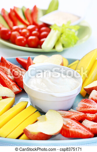 Raw fruits and vegetables with dip - csp8375171