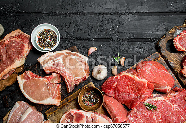 Raw meat. Different kinds of pork and beef meat. - csp67056577