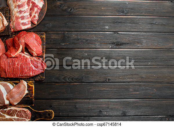 Raw meat. Different kinds of pork and beef meat. - csp67145814