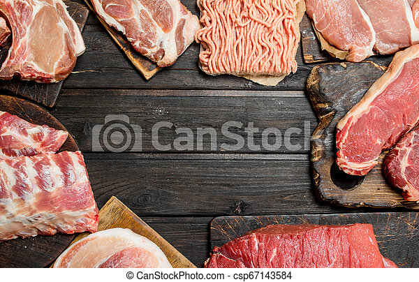 Raw meat. Different kinds of pork and beef meat. - csp67143584