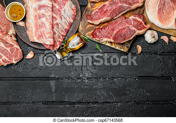 Raw meat. Different kinds of pork and beef meat. - csp67143568