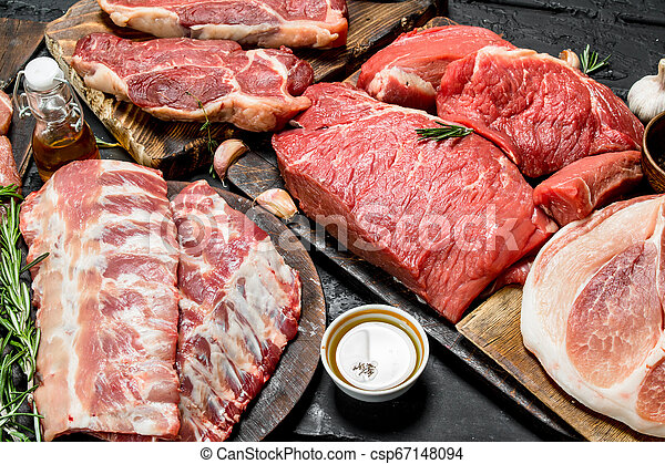 Raw meat. Different kinds of pork and beef meat. - csp67148094