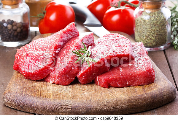 raw meat with rosemary - csp9648359