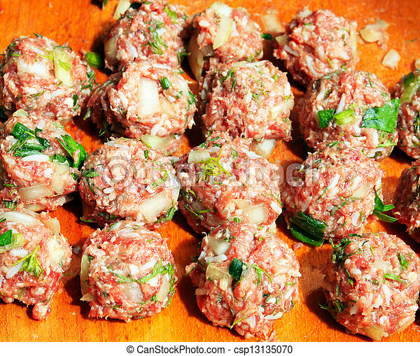 Raw meatballs on the chopping board - csp13135070