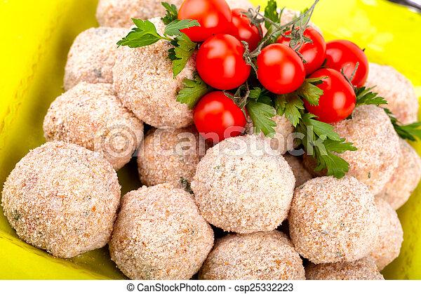 Raw Meatballs  - csp25332223