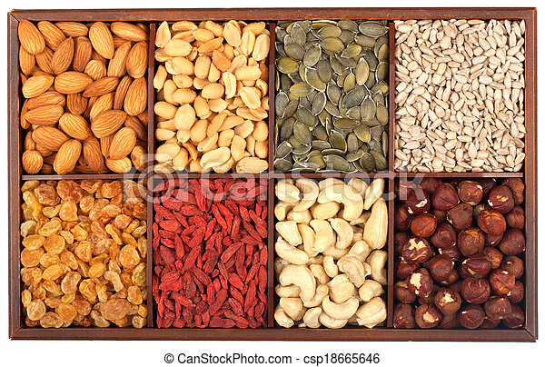 Raw nuts and seeds - csp18665646