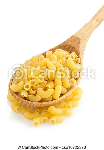 raw pasta in spoon on white - csp16722370