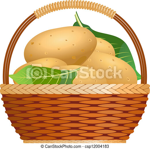 raw potatoes in a basket vector search clip art illustration rh canstockphoto com potato clip art black and white mashed potatoes clipart